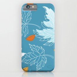 Lovely blue sky illustration with autumn leaves pattern  iPhone Case