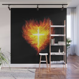 Burning Heart and Cross Wall Mural