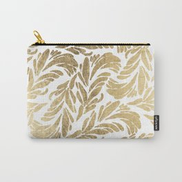 Elegant white chic faux gold foil floral damask pattern Carry-All Pouch