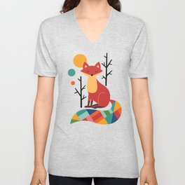 Rainbow Fox Unisex V-Neck