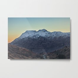 Sunset on a Snow Covered Mountain Photography Print Metal Print