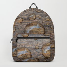 Water Drops on Wood 5 Backpack