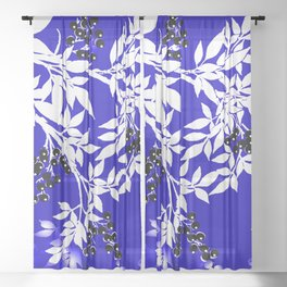 LEAF AND TREE BRANCHES BLUE AND WHITE BLACK BERRIES Sheer Curtain