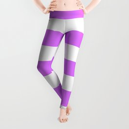 Heliotrope - solid color - white stripes pattern Leggings