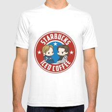 Starbucks - Steve Rogers and Bucky Barnes Iced Coffee  LARGE White Mens Fitted Tee
