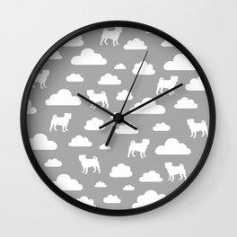 Pug Clouds - Grey Wall Clock