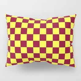 Electric Yellow and Burgundy Red Checkerboard Pillow Sham