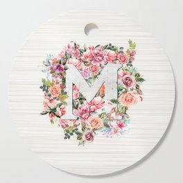 Initial Letter M Watercolor Flower Cutting Board