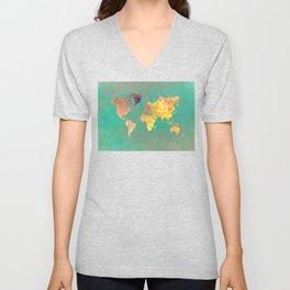 world map 103 #worldmap #map Unisex V-Neck