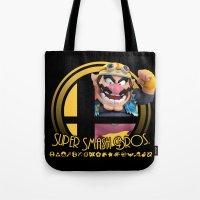 smash bros Tote Bags featuring Wario - Super Smash Bros. by Donkey Inferno