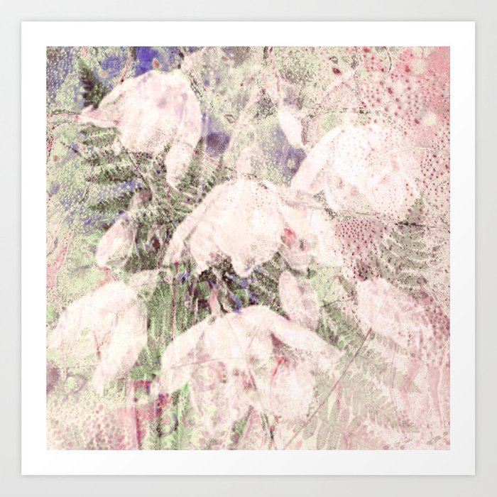 fern and flowers on soft pink Art Print