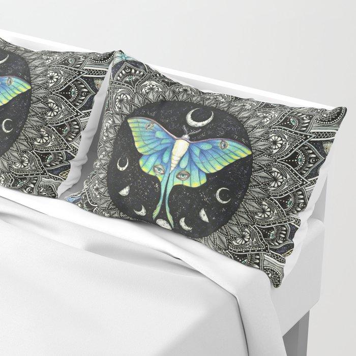 Lunar Moth Mandala with Background Pillow Sham