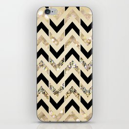 Black & Gold Glitter Herringbone Chevron on Nude Cream iPhone Skin