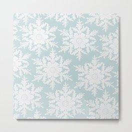Wedgewood Blue Winter Christmas Snowflake Design Metal Print