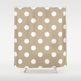 Polka Dots - White on Khaki Brown Shower Curtain