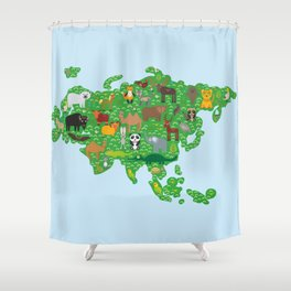 Eurasia animal bison bat fox wolf elk horse cock camel partridge fur seal Walrus goats Polar bear Shower Curtain