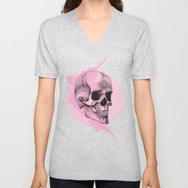Rose Coloured Skulls Unisex V-Neck