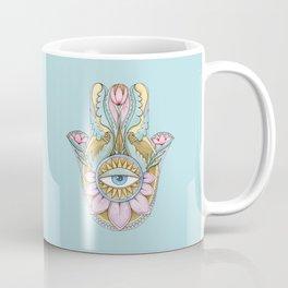 Hamsa On Turquoise Coffee Mug