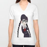 dangan ronpa V-neck T-shirts featuring Book Girl by dartty