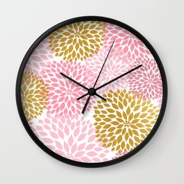Pink and Gold Dahlias floral art Wall Clock
