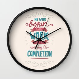 Bible Verse Typography - Good Work Completion Wall Clock