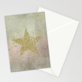 Sparkling Glamorous Golden Star Stationery Cards