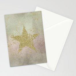 Sparkling Glamorous Golden Star Stationery Cards