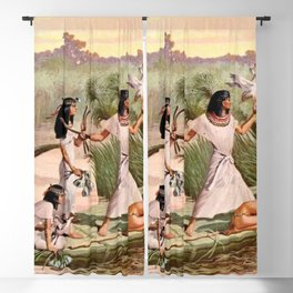 "Classical Masterpiece ""Egyptian Fowlers in Boat on the Nile"" by Herbert Herget Blackout Curtain"