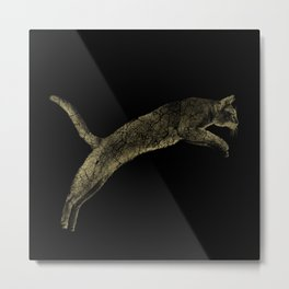 Abyssinian cat  jumping cracked metallic texture Metal Print