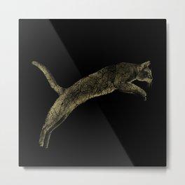 Abyssinian cat  jumping cracked metallic texture Metal Print