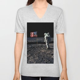Buzz Aldrin and the U.S. Flag on the Moon Unisex V-Neck