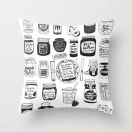 Jams and Chutneys Illustrated Alphabet Throw Pillow
