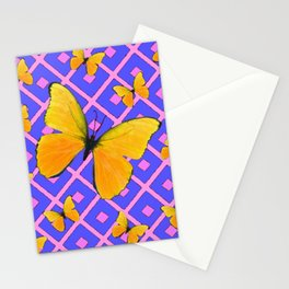 Decorative  Yellow Butterflies on Lilac & Pink Stationery Cards