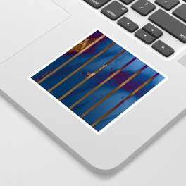 Electric Blue Abstract with Gold Stripes Sticker
