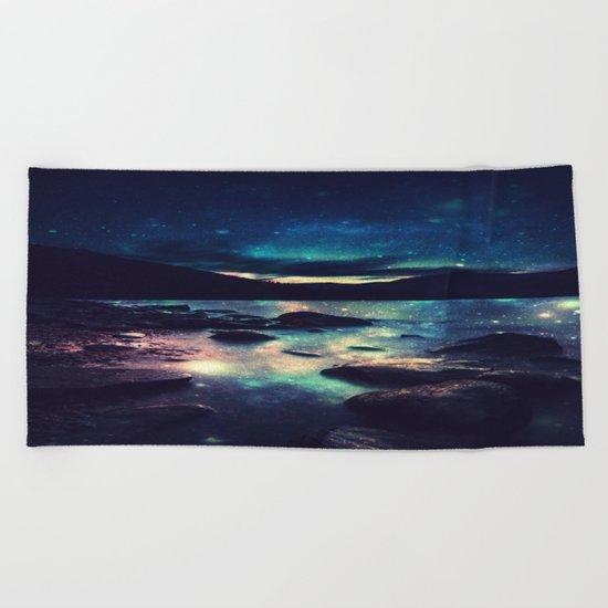 Magical Mountain Lake : Deep Pastels Teal Mauve Beach Towel