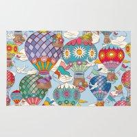 hot air balloon Area & Throw Rugs featuring Hot Air Balloon by Helene Michau