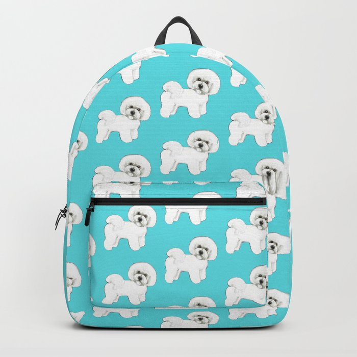 c301a498f3 Bichon Frise on aqua   teal   cute dogs  dog lovers gift Backpack by ...