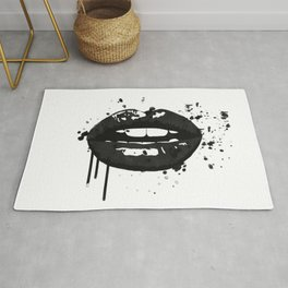 Black and white glamour fashion lips Rug
