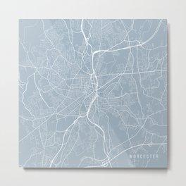 Worcester Map, USA - Slate Metal Print