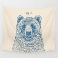 bear Wall Tapestries featuring Bear (Ivory) by Rachel Caldwell