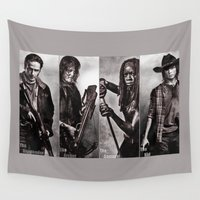 daryl dixon Wall Tapestries featuring The Walking Dead - Rick Daryl Michonne Carl  by Cursed Rose