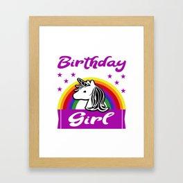 Birthday Girl Unicorn Rainbow Gift Framed Art Print