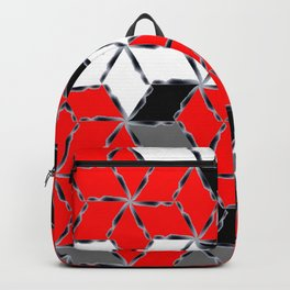 red white black grey cubes geometric 3d pattern Backpack