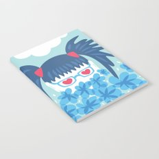 Geek Girl With Heart Shaped Eyes And Blue Flowers Notebook