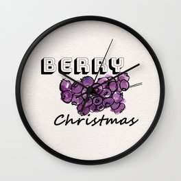Happy berry christmas III Wall Clock