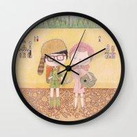 moonrise kingdom Wall Clocks featuring moonrise kingdom by yohan sacre