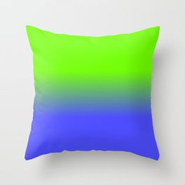 Neon Blue and Neon Green Ombré  Shade Color Fade Throw Pillow