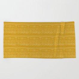 Mud Cloth on Mustard Beach Towel