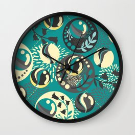 Dark Teal Marble Balls Wall Clock