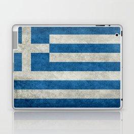 Greek flag in retro grunge Laptop & iPad Skin